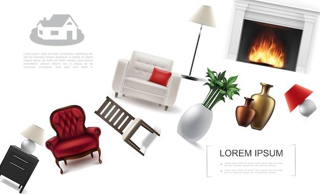 Modelo de elementos de interiores clássicos realistas com poltronas planta de casa lareira mesa de cabeceira cadeira mesa de cabeceira e vasos de cerâmica Vetor grátis