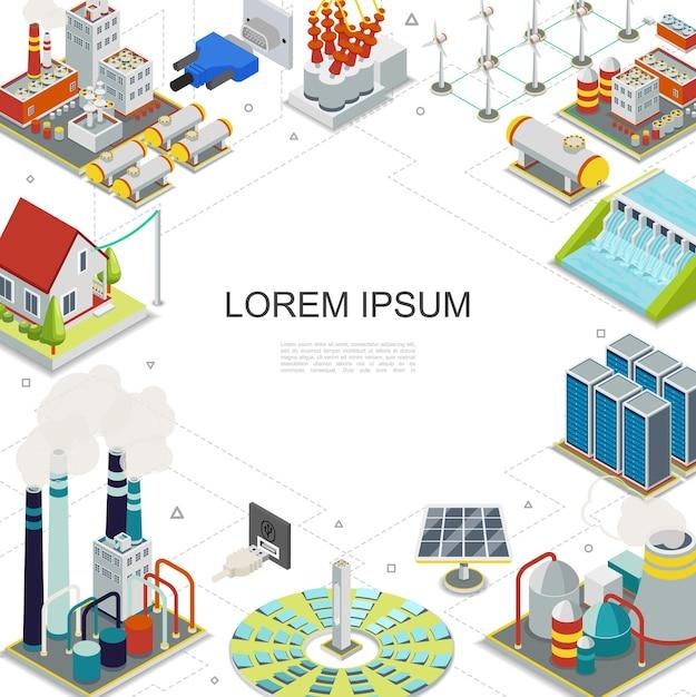 Modelo de eletricidade e energia isométrica com combustível geotérmico hidrelétrico centrais nucleares painéis solares moinhos de vento porta-gás plugues tomadas transformador elétrico ilustrador Vetor grátis