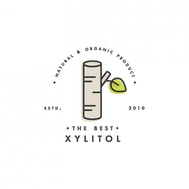 Modelo de embalagem logotipo e emblema - açúcar - xilitol. logotipo no elegante estilo linear. Vetor Premium