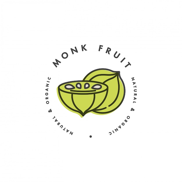 Modelo de embalagem logotipo e emblema - fruta do monge. logotipo no elegante estilo linear. Vetor Premium