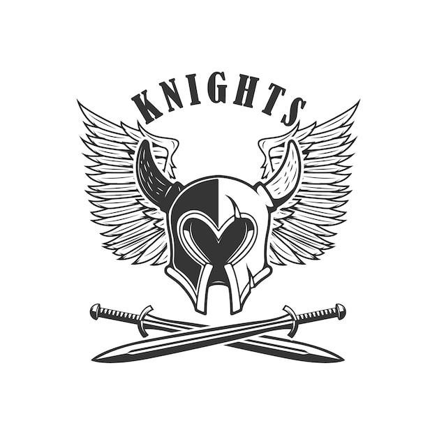 Modelo de emblema com capacete de cavaleiro medieval e espadas cruzadas. elemento para logotipo, etiqueta, sinal. ilustração Vetor Premium