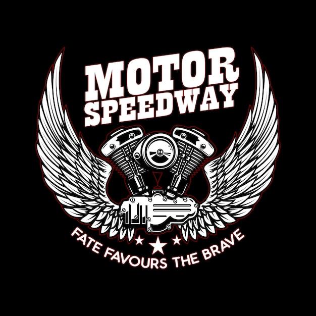 Modelo de emblema com motor de motocicleta alado Vetor Premium