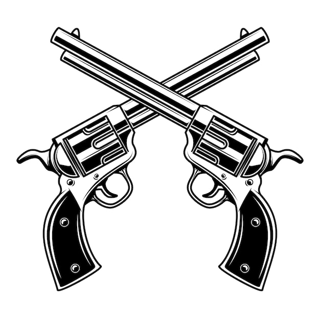Modelo de emblema com revólveres cruzados. elemento para o logotipo, etiqueta, emblema, sinal. ilustração Vetor Premium