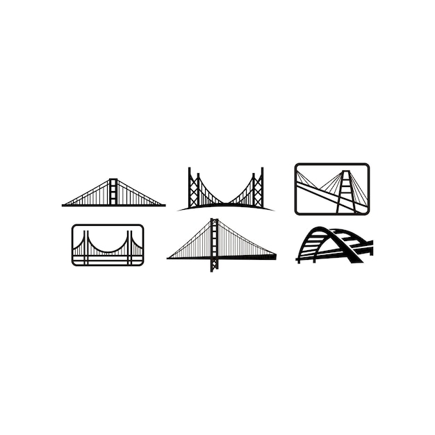 Modelo de emblema de design de logotipo de ponte. marco da cidade edifício icon ilustração vetorial Vetor Premium