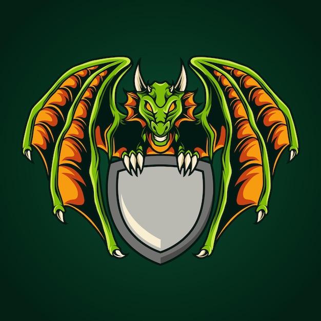Modelo de emblema de dragão Vetor Premium