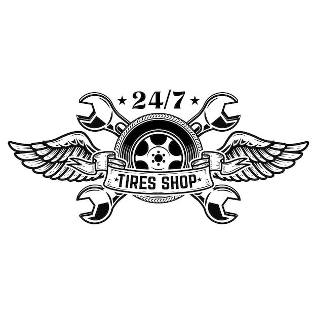 Modelo de emblema de loja de pneu. roda de carro com asas. elementos para emblema, sinal, cartaz. ilustração Vetor Premium