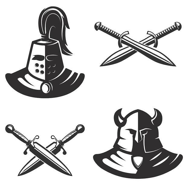 Modelo de emblemas de cavaleiro com espadas em fundo branco. elemento para o logotipo, etiqueta, emblema, sinal, marca. ilustração. Vetor Premium