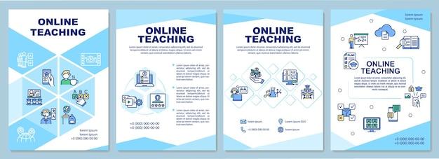 Modelo de ensino online. estrutura do curso intuitivo. folheto, folheto, impressão de folheto, design da capa com ícones lineares. eu Vetor Premium