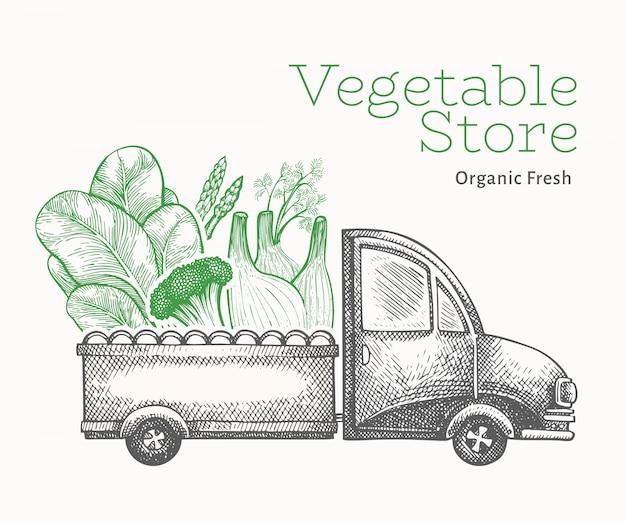 Modelo de entrega de loja de vegetais verdes. Vetor Premium