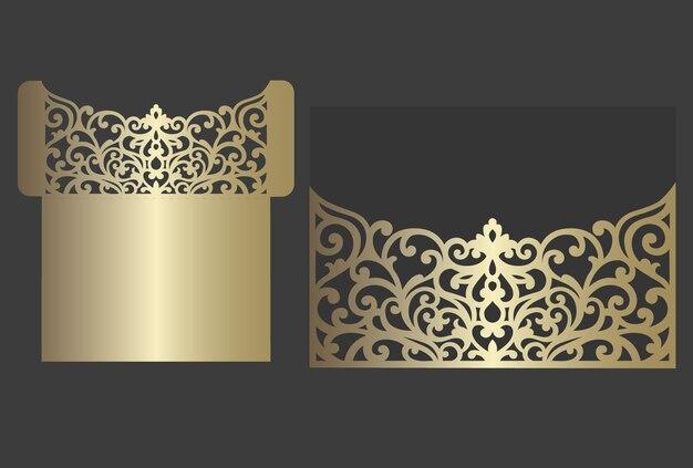 Modelo de envelope de convite de casamento de corte a laser. Vetor Premium
