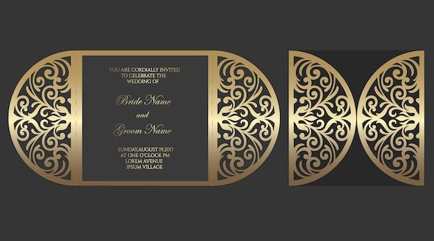 Modelo de envelope de dobra de portão de corte a laser para convites de casamento. Vetor Premium