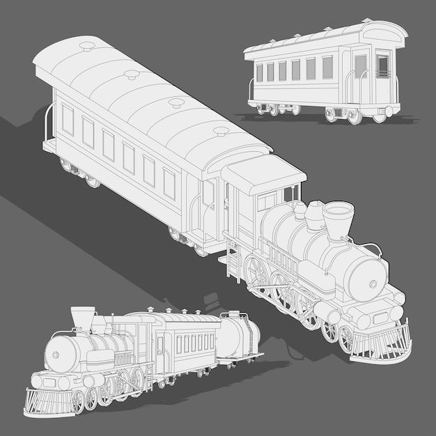 Modelo de esboço de trem a vapor realista. vector coloração página 3d trem modelo. Vetor Premium