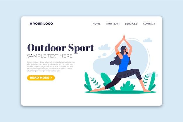 Modelo de esporte ao ar livre design plano de página de destino Vetor grátis
