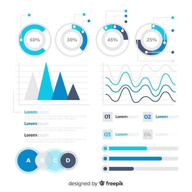 Modelo de estatísticas plana infográfico Vetor grátis