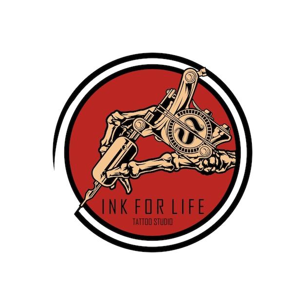 Modelo de estúdio de tatuagem de logotipo Vetor Premium