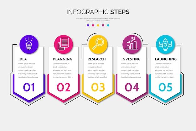 Modelo de etapas de infográfico design plano Vetor grátis