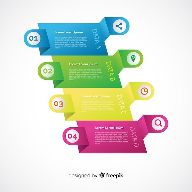 Modelo de etapas de infográfico gradiente Vetor grátis