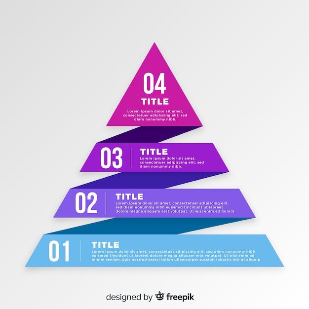 Modelo de etapas de infográfico plana pirâmide Vetor Premium