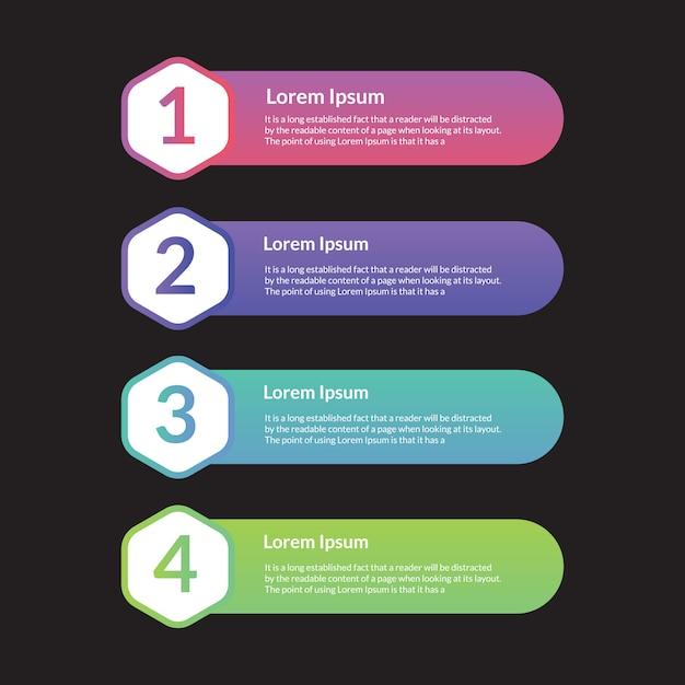 Modelo de etapas douradas de elemento infográfico Vetor Premium