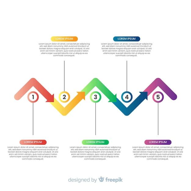 Modelo de etapas infográfico plana Vetor grátis