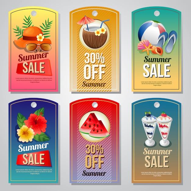 Modelo de etiqueta de férias de verão colorido conjunto com ilustração em vetor objeto verão Vetor Premium