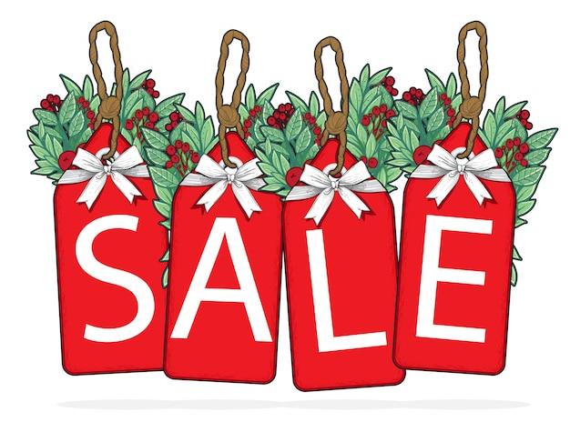Modelo de etiqueta de venda feliz natal Vetor Premium