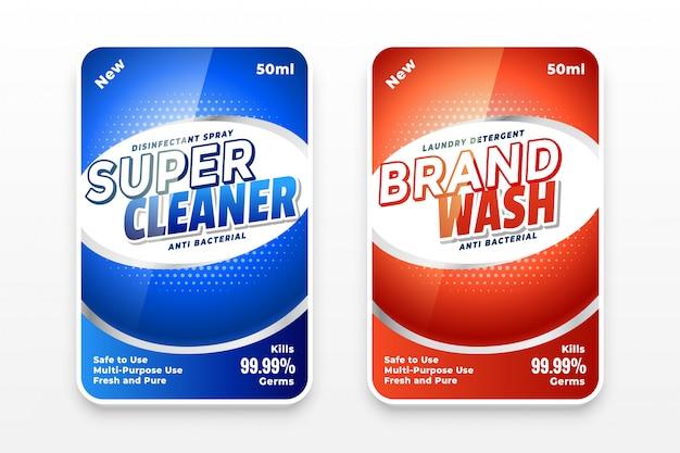 Modelo de etiquetas de detergente desinfetante ou detergente para a roupa Vetor grátis