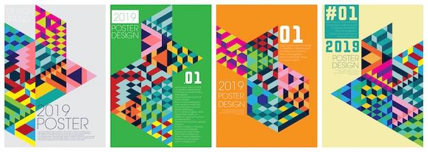 Modelo de evento de cartaz com diagonal colorfull Vetor Premium
