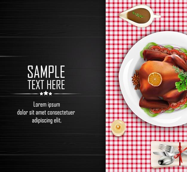 Modelo de exibição de mesa de jantar de luxo com menu de peru assado Vetor Premium