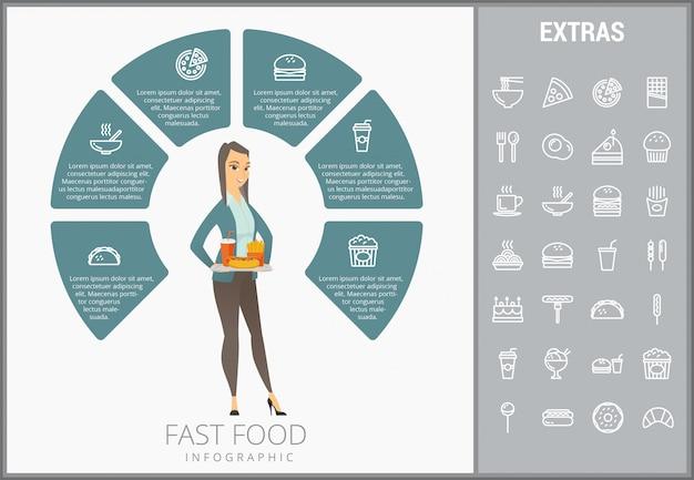Modelo de fast-food infográfico e conjunto de ícones Vetor Premium