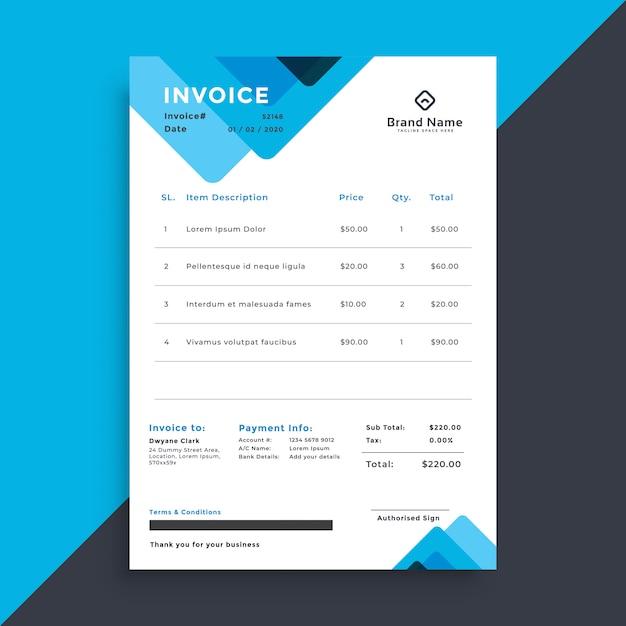 Modelo de fatura comercial criativos azul profissional Vetor grátis