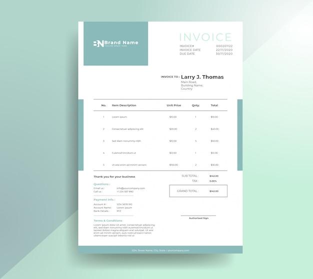 Modelo de fatura de pagamento moderno limpo Vetor Premium