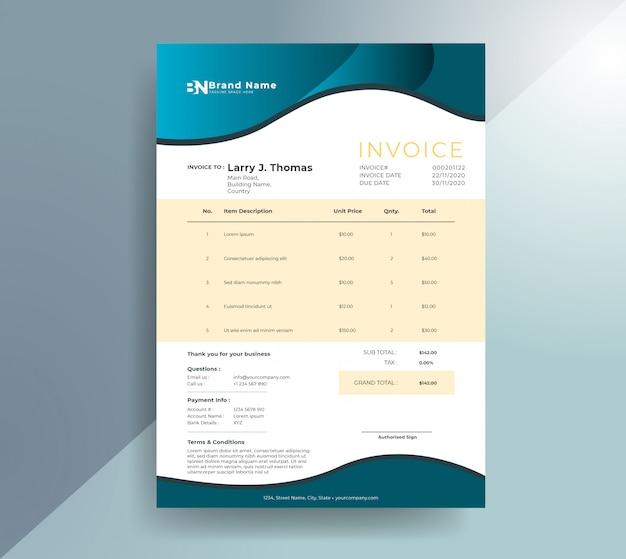 Modelo de fatura ondulada de gradiente minimalista Vetor Premium