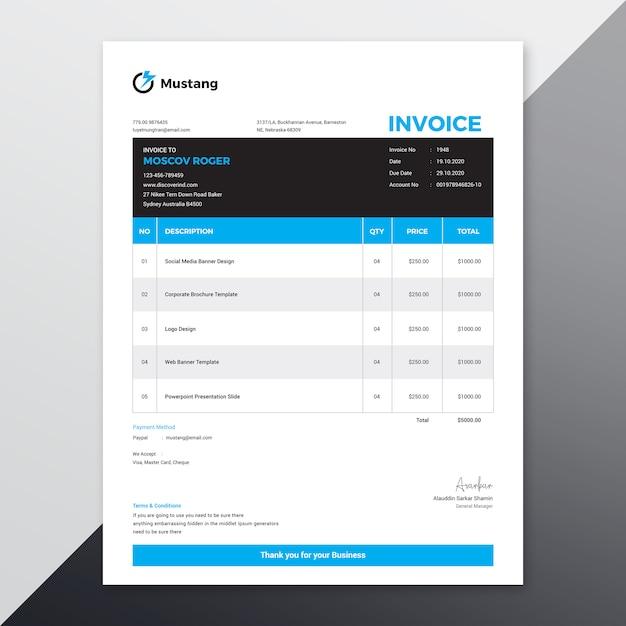 Modelo de fatura Vetor Premium