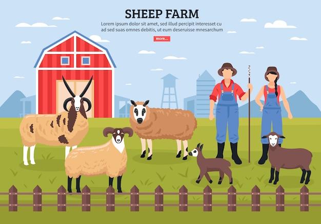 Modelo de fazenda de ovinos Vetor grátis