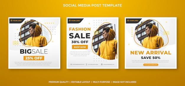 Modelo de feed de mídia social de venda de moda estilo premium Vetor Premium