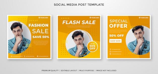 Modelo de feed do instagram de venda de moda estilo premium Vetor Premium