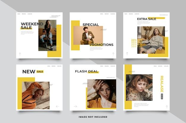 Modelo de feeds do instagram de moda Vetor Premium