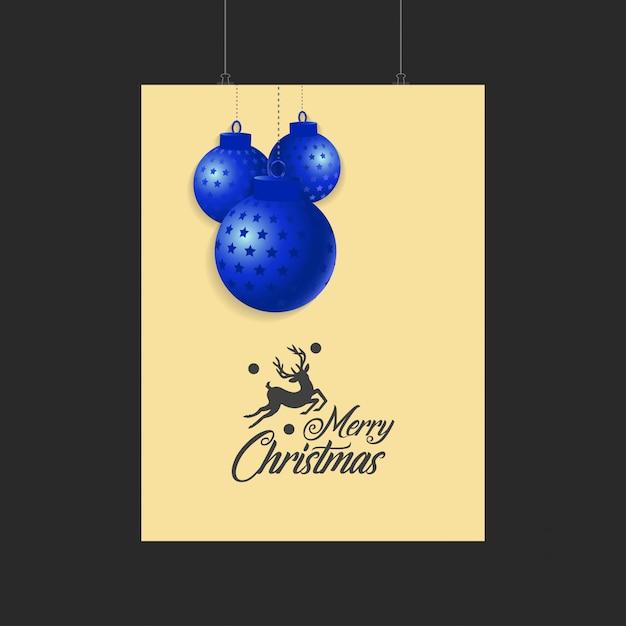 Modelo de feliz natal renas e bolas azuis Vetor grátis