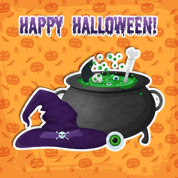 Modelo de festa de halloween com inscrição olho de chapéu de bruxa e poção mágica fervendo em adesivos de caldeirão Vetor grátis