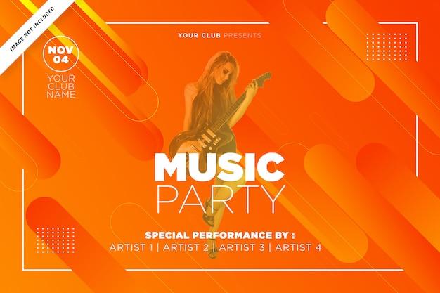 Modelo de festa de música na cor laranja Vetor Premium