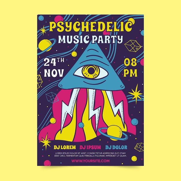 Modelo de festa de música psicodélica Vetor grátis