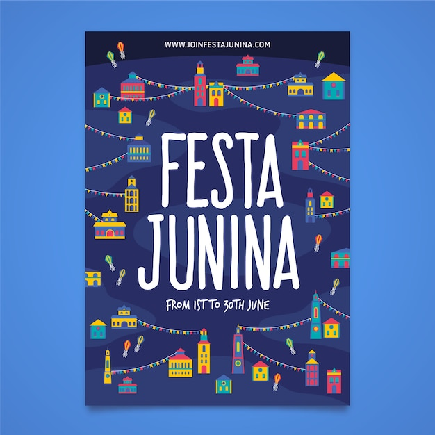 Modelo de festa junina para cartaz Vetor grátis
