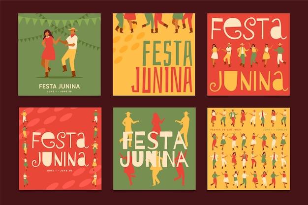 Modelo de festa junina para coleção de cartões Vetor grátis