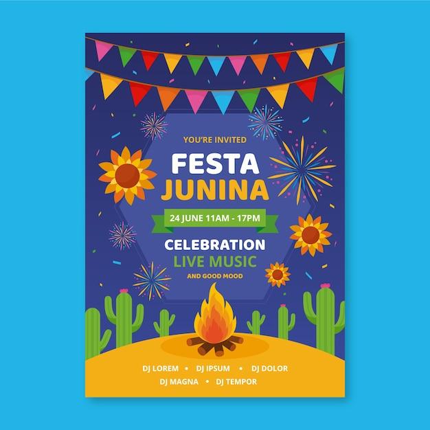 Modelo de festa junina para estilo flyer Vetor grátis
