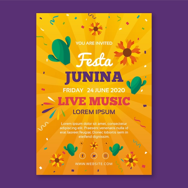 Modelo de festa junina para o conceito de panfleto Vetor grátis