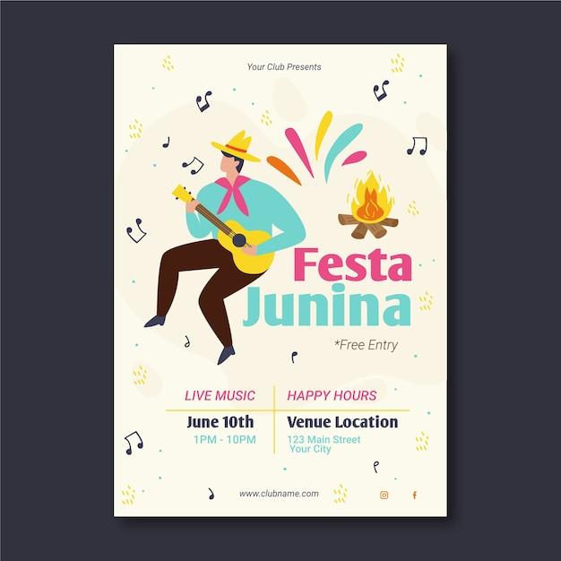 Modelo de festa junina para tema de cartaz Vetor grátis
