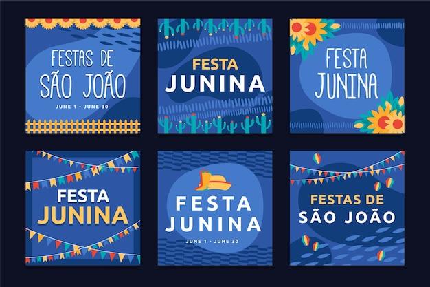 Modelo de festa junina para tema de coleção de cartões Vetor grátis
