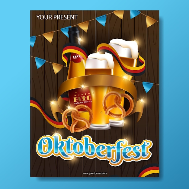 Modelo de festival de cerveja alemã oktoberfest Vetor Premium