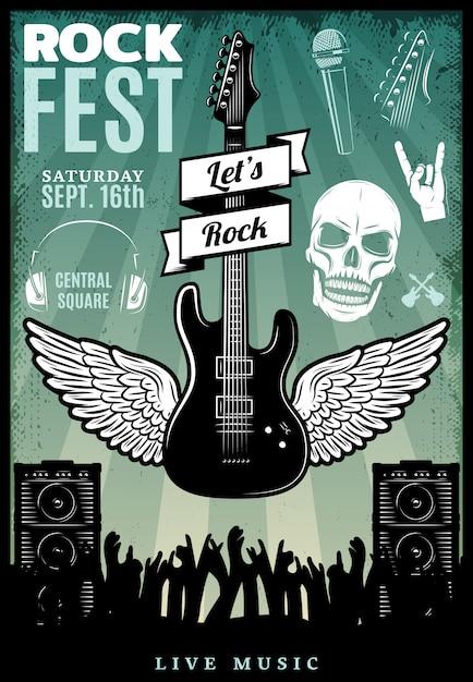Modelo de festival de música rock vintage Vetor grátis
